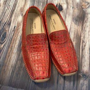 Donald J Pilner Sport Driven Red Slip on Loafers